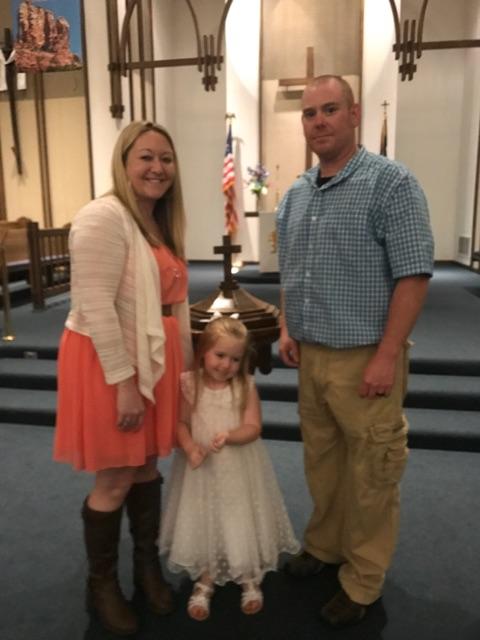Chris Amber Brookelyn Grabert baptism Sunday
